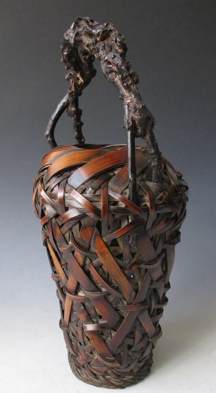 Japanese Antique Bamboo Ikebana Basket with Wisteria Branch Handle