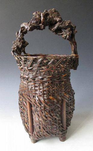 Japanese Antique Bamboo Ikebana Basket with Rootwood Handle