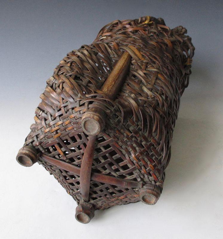 Japanese Antique Bamboo Ikebana Basket with Rootwood Handle