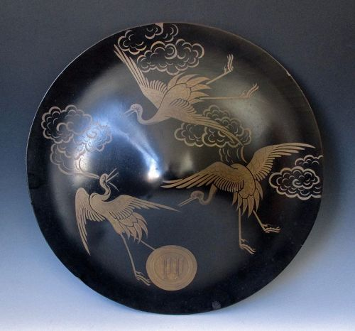 Japanese Antique Jingasa, Samurai's Hat with Narabi-ya (arrows) Mon