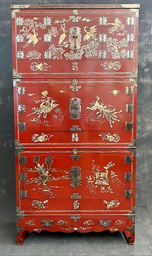 Rare Korean Early 20th C. Red Lacquer Cabinets with Inlay
