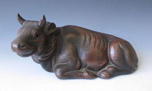 Japanese Antique Bizen Ware Figure of a Bull