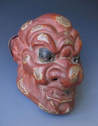 Japanese Antique Small Gigaku Mask of the Demon Konron