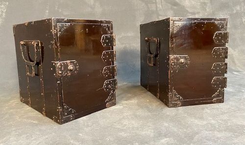 Pair of Japanese Black Lacquer Traveling Peddlers Gyosho Boxes