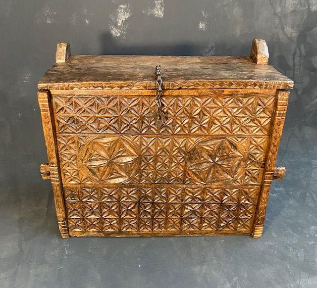 Rare Himalayan Hardwood Hinged Storage Chest