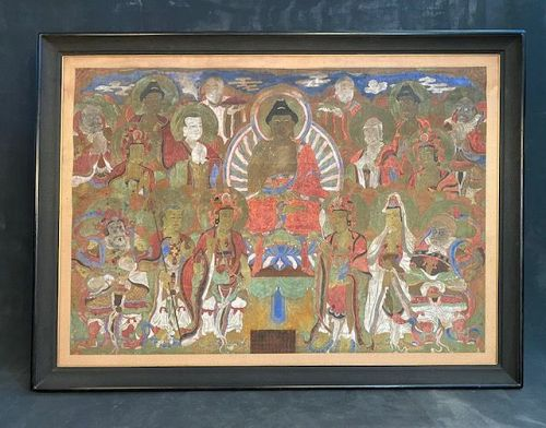 Large19th C. Yi Dynasty Korean Buddhist Painting 16 Deities
