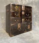 Antique Japan Ko Bo Tansu (Personal Chest with Lock Bar) Lacquer Meiji