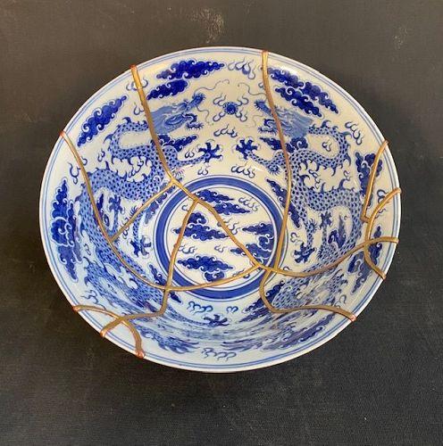 Chinese Blue & White Dragon Bowl with Kintsugi