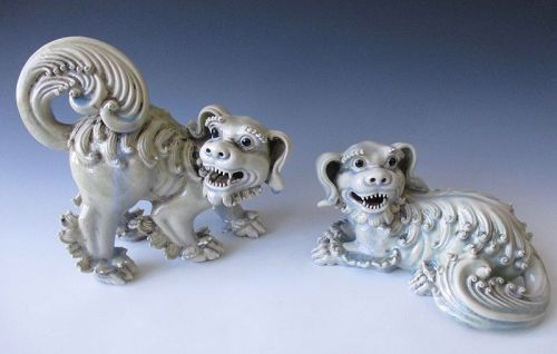 Chinese Pair of Porcelain Fu-dogs