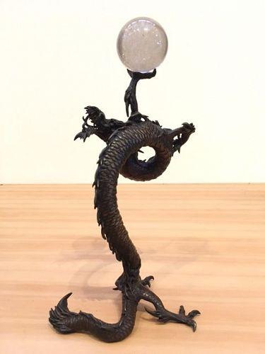 Antique Japanese bronze Mythical Dragon w/ Reteculated Quartz