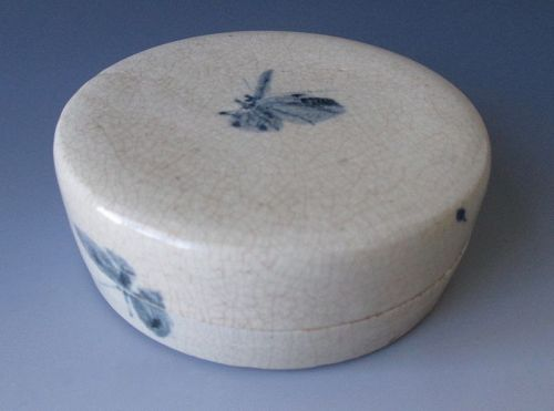 Japanese Antique Porcelain Kogo Box with Butterflies