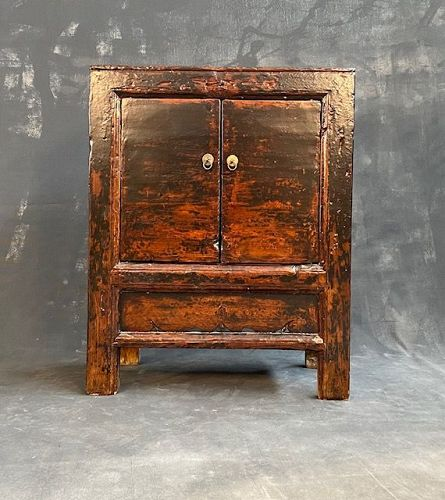 Antique 19thC Chinese Small Country Cabinet Pine with Lacquer Finish