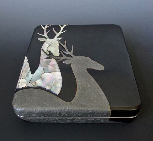 Japanese Antique Lacquer Suzuribako with Pair of Deer
