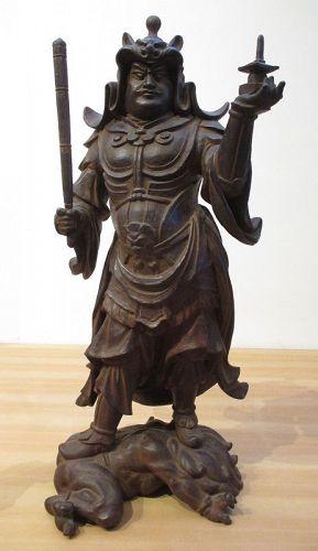 Japanese Antique Cast Iron Figure of Bishamonten