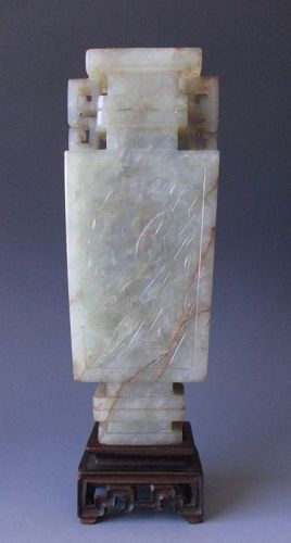 Chinese Antique Pale Green and White Jade Vase