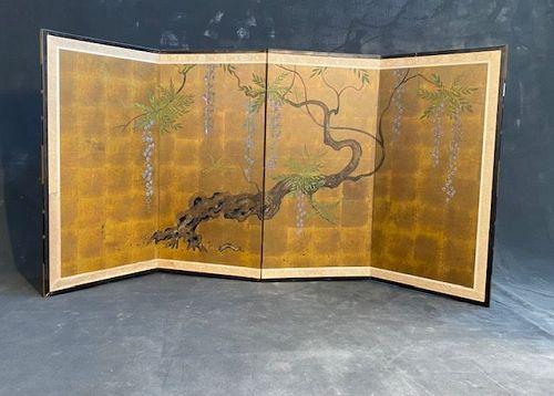 Japanese 4 Panel Byobu Screen Mid Century Showa Period Wisterias