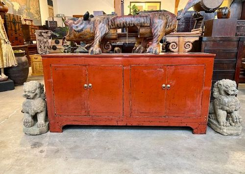 Contemporary Chinese Buffet Chest Red Lacquer Up Cycled Wood