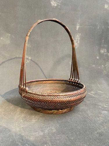 Antique Japanese Ikebana Basket Open Flat Cicada Weave Meiji period