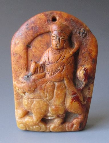 Chinese Antique Carved Jade Amulet of a Figure Riding a Fu-Lion