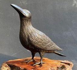Antique Japanese Bronze Crow Okimono on Momiji (Maple) Kadai (Stand)