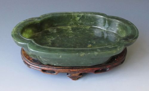 Chinese Antique Spinach Jade Quatrefoil Lobed Bowl on Stand