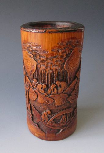 Chinese Antique Bamboo Brush Pot Carved with Scholars