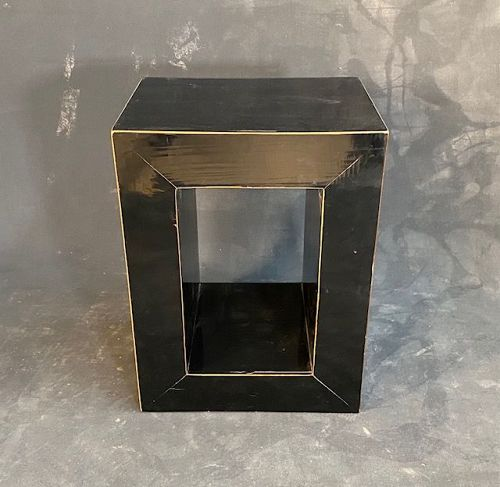 Modern Chinese Lacquer Cubism Stand and Stool