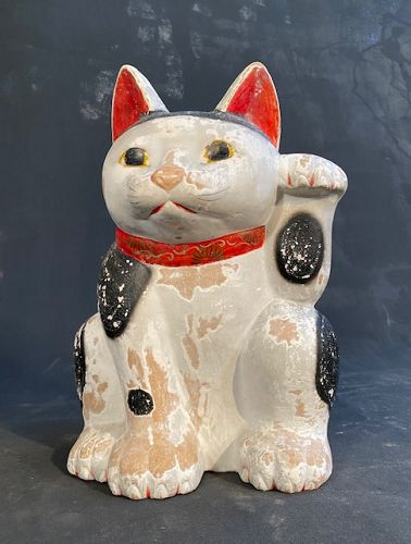 Antique Maneki Neko Mikawa Japanese Beckoning Cat Large Meiji/Taisho