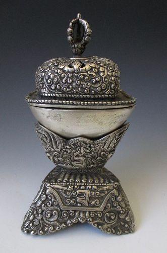 Tibetan Antique Silver Kapala Incensor