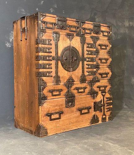 Antique Japanese Choba Biraki Tansu (Merchant Chest) Kiri Edo Period