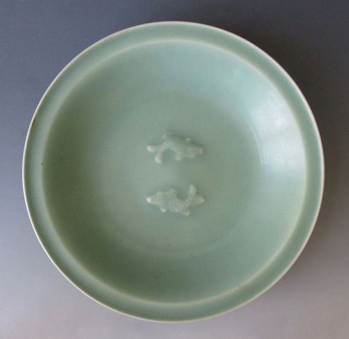 Chinese Antique Celadon Plate with Twin Fish