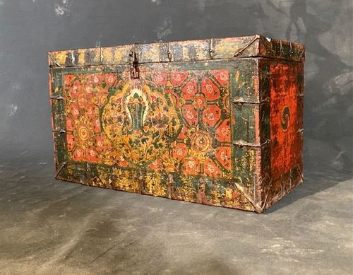 Tibetan Painted Traveling Trunk (Yak Butter Trunk) 18th Century