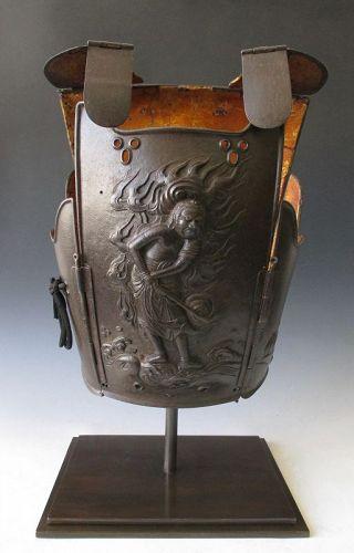 Japanese Antique Iron Samurai Go-Mai Dou with Fudo Myo-o