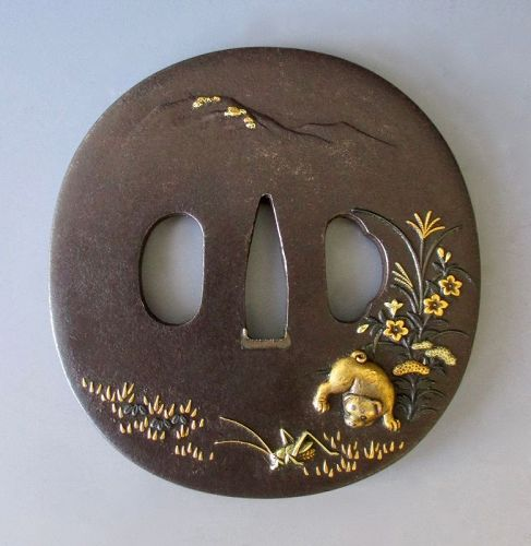 Japanese Antique Tsuba with Puppies