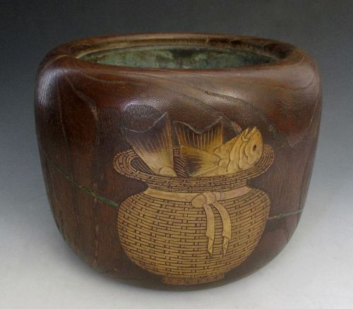 Japanese Antique Kiri Wood Hibachi with Gold Lacquer Fish