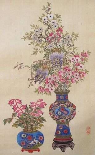 Chinese Scroll Painting of Flower Arrangements by Chǔ-nan