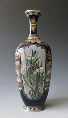 Japanese Antique Small Cloisonné Vase with Flowers