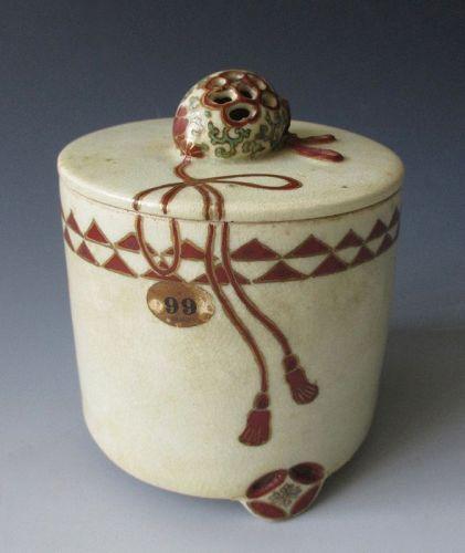 Japanese Antique Satsuma Ware Round Lidded Incensor