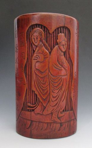 Chinese Antique Carved Bamboo Brush Pot with Figures