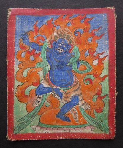 Tibetan Antique Tsakli Card with Painting of Canda-Vajrapani