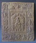 Indian Antique Gilt Copper Repouse Plaque of Buddha's Life