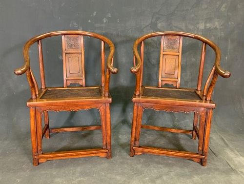 Pair of Antique Chinese Horseshoe Chairs Elm 18th C