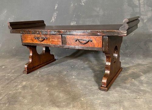 Antique Japanese Scholar's Desk Keyaki with Full Moon Motif Meiji Era