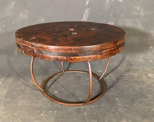 Antique Japanese Mill Wheel Coffee Table Keyaki Edo Era with Iron Base