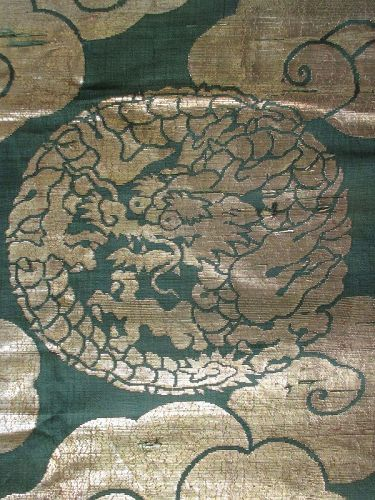 Japanese Antique Temple Textile with Gold Dragons