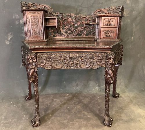 Antique Chinese Export Desk Dragon Motif with Drawers & Gallery