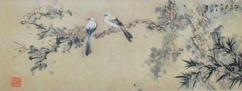 Chinese Painting of Pair a of Birds by Zhang Da-Qian (Zhang Yuan)