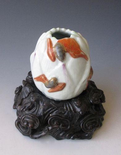 Chinese Porcelain Lotus Brush Washer with Bats and Lingzhi