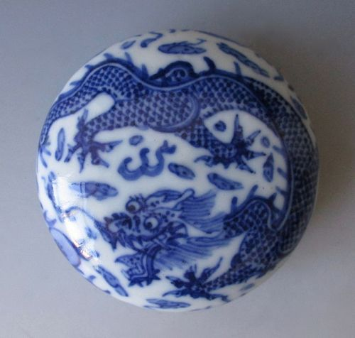 Chinese Antique Porcelain Small Ink Cake Box with Dragon