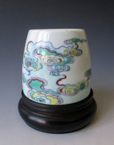 Chinese Antique Doucai Porcelain Brush Washer with Swirling Mist